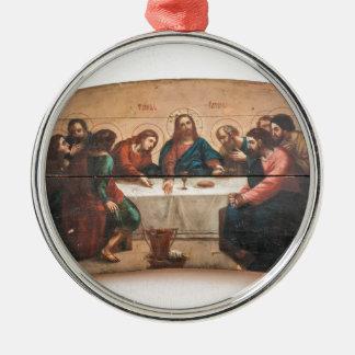 Ornement Rond Argenté Icône orthodoxe sainte Jésus Pâques de Noël