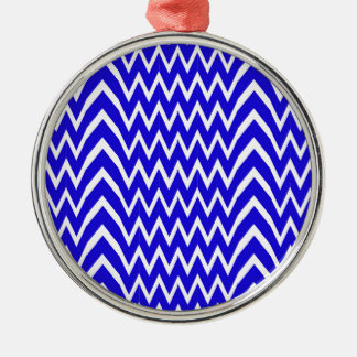 Ornement Rond Argenté Illusion bleue de Chevron