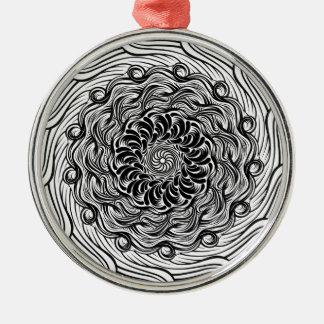 Ornement Rond Argenté Illusion optique de griffonnage fleuri de zen
