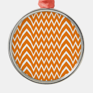 Ornement Rond Argenté Illusion orange de Chevron