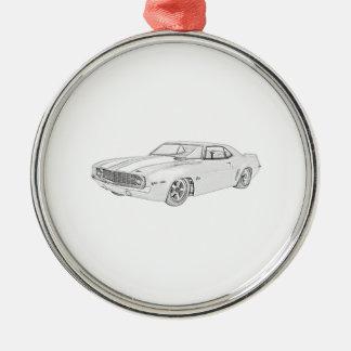 Ornement Rond Argenté Illustration 1969 de style de crayon de Chevrolet