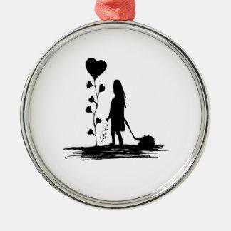 Ornement Rond Argenté Illustration de concept d'amour d'encemencement