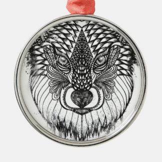 Ornement Rond Argenté Illustration de mandala de loup
