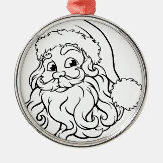 Ornement Rond Argenté Illustration de Noël du père noël
