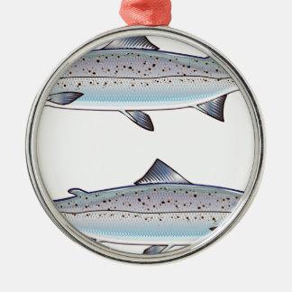 Ornement Rond Argenté Illustration de poissons d'océan de saumon