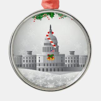 Ornement Rond Argenté Illustration de scène de Noël de capitol de