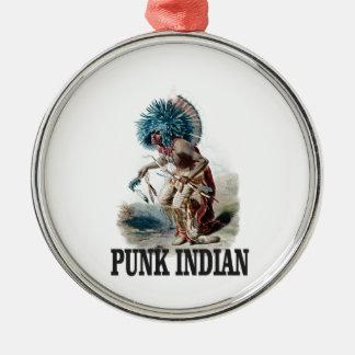 Ornement Rond Argenté Indien punk bleu