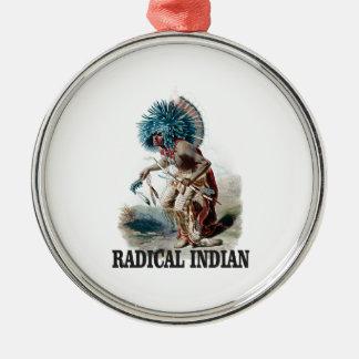 Ornement Rond Argenté Indien radical