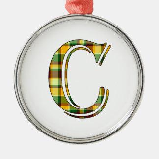 Ornement Rond Argenté Initiale de plaid de C