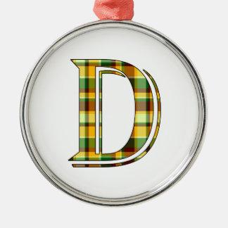 Ornement Rond Argenté Initiale de plaid de D