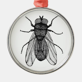 Ornement Rond Argenté Insect