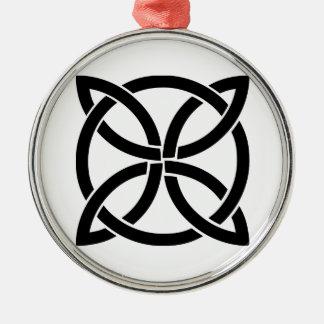 Ornement Rond Argenté Irlandais païen de noeud de symbole antique