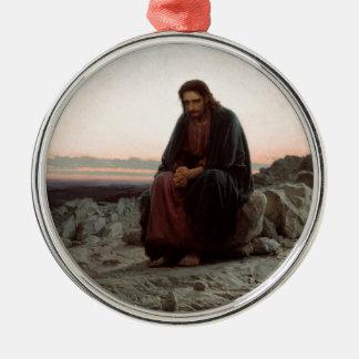 Ornement Rond Argenté Ivan Kramskoy- le Christ dans la région sauvage -