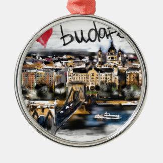 Ornement Rond Argenté J'aime Budapest