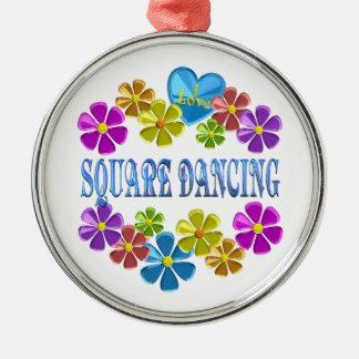 Ornement Rond Argenté J'aime la danse carrée
