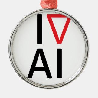 Ornement Rond Argenté J'aime l'intelligence artificielle