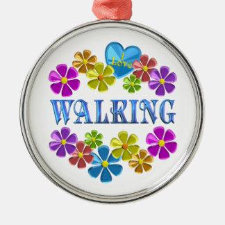 Ornement Rond Argenté J'aime marcher