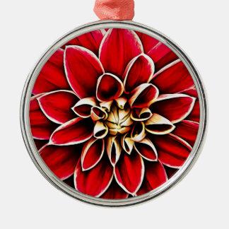 Ornement Rond Argenté Jardin floral de fleurs de pétales de fleur de