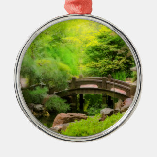 Ornement Rond Argenté Jardin japonais - l'eau sous le pont