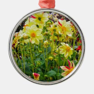 Ornement Rond Argenté Jardin jaune de dahlias