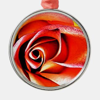 Ornement Rond Argenté Jaune orange de fleur de fleur florale de pétales