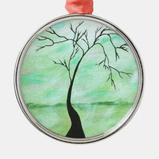 Ornement Rond Argenté Je seul ai attendu l'arbre tordu d'art abstrait de