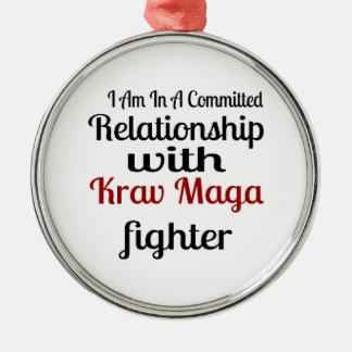 Ornement Rond Argenté Je suis dans un rapport commis avec Krav Maga fi
