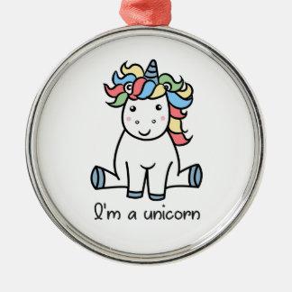 Ornement Rond Argenté Je suis une licorne !