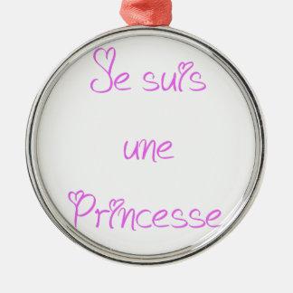 Ornement Rond Argenté Je suis une princesse