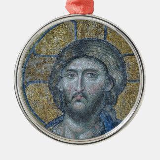 Ornement Rond Argenté Jésus font face