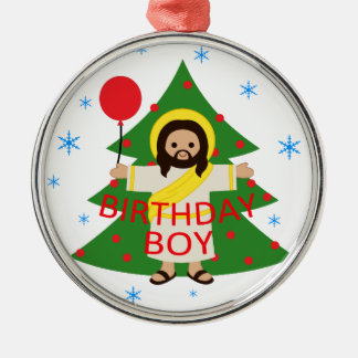Ornement Rond Argenté Jésus - Noël