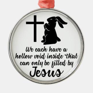 Ornement Rond Argenté Jésus remplit lapin nul creux Pâques