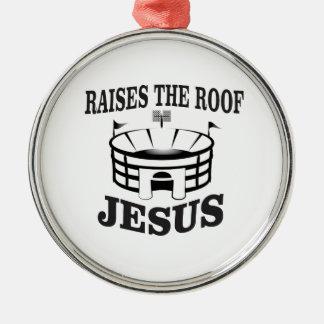 Ornement Rond Argenté Jésus soulève le toit ouais