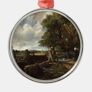 Ornement Rond Argenté John Constable - la serrure - paysage de campagne