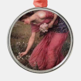 Ornement Rond Argenté John William Waterhouse - narcisse - beaux-arts
