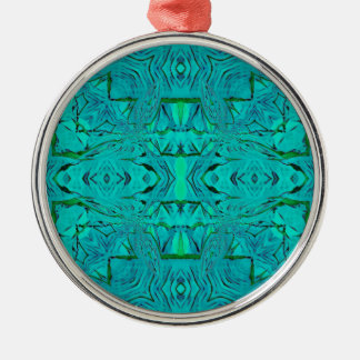 Ornement Rond Argenté Joli motif tribal bleu vert au néon