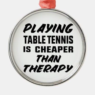 Ornement Rond Argenté Jouer au ping-pong est meilleur marché que la