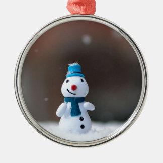 Ornement Rond Argenté Jouet de neige de Noël d'hiver
