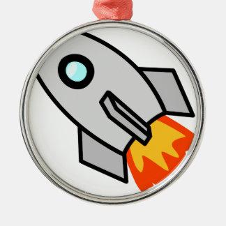 Ornement Rond Argenté Jouet Rocket