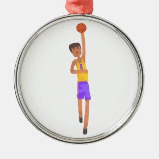 Ornement Rond Argenté Joueur de basket avec l'autocollant d'action de