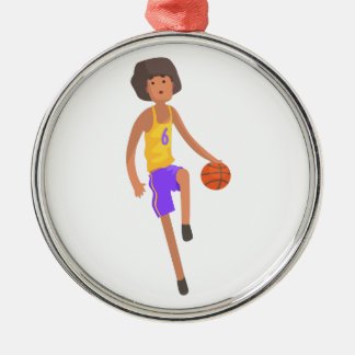 Ornement Rond Argenté Joueur de basket fonctionnant avec l'autocollant