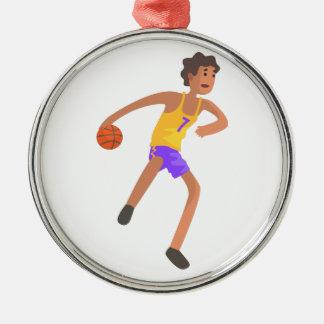 Ornement Rond Argenté Joueur de basket passant l'autocollant d'action de