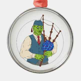 Ornement Rond Argenté Joueur de pipeau de zombi jouant l'art de crasse