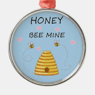 Ornement Rond Argenté Jour de Valentines de mine d'abeille