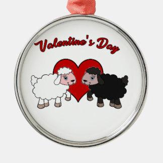 Ornement Rond Argenté Jour de Valentines - mouton