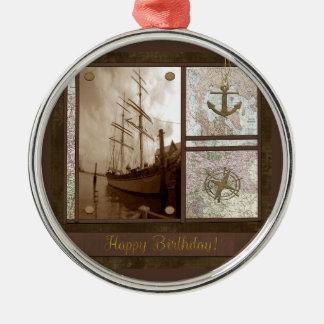 Ornement Rond Argenté Joyeux anniversaire, bateaux grands, ancre,