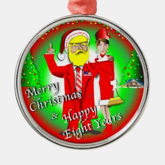 Ornement Rond Argenté Joyeux Noël et huit années heureuses