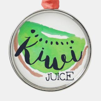 Ornement Rond Argenté Jus frais de kiwi