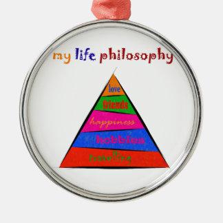Ornement Rond Argenté Kephalonissa - ma philosophie de la vie