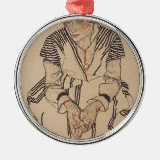 Ornement Rond Argenté La belle-soeur de l'artiste d'Egon Schiele-
